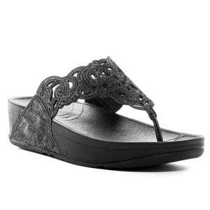 Size 7 FitFlop Flora Black Metallic T-Strap Sandal